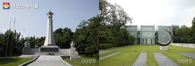 3.1독립운동기념탑(좌), 안중근의사 기념관(우)