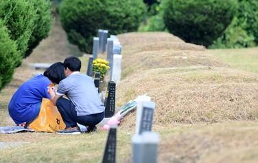용미리 제2묘지를 찾은 성묘객들