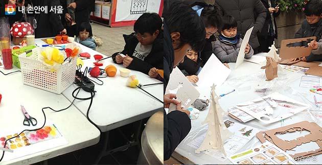 시민들도 직접 폐자원을 이용해 아트 작품을 만들어 볼 수 있었다. LED 꽃조명 만들기(좌), 재생지로 페이퍼토이 만들기(우)