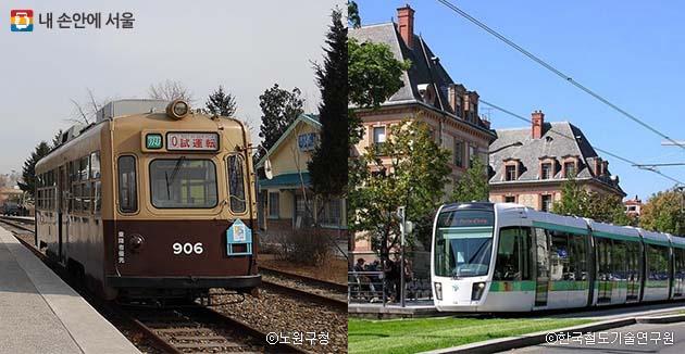 경춘선숲길공원 내 전시된 구형 트램(좌), 프랑스 파리의 트램
