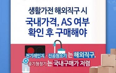 생활가전 해외직구 시 국내가격, AS 여부 확인 후 구매해야 전기레인지·진공청소기는 해외직구, 공기청정기는 국내구매가 저렴