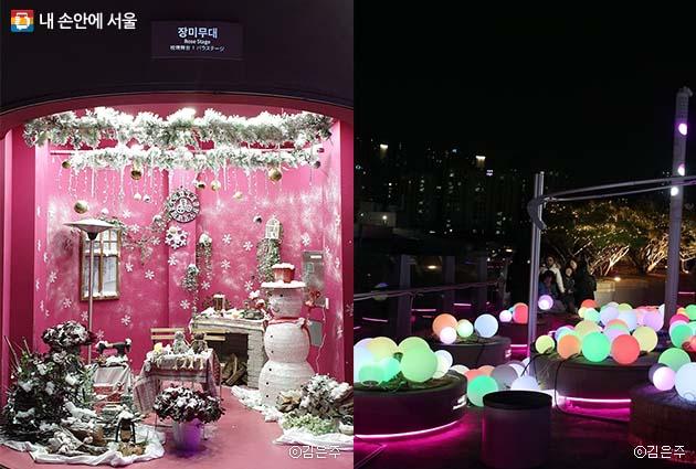 장미무대에 마련된 크리스마스 포토존에서 사진을 찍어보자(좌), 서울로7017이 크리스마스를 맞아 화려하게 변신했다(우)