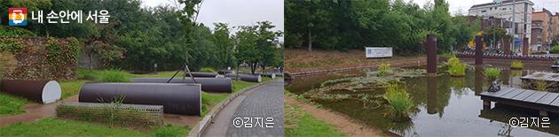신월정수장 수도관을 재활용한 재생정원의 조형물과 인공연못