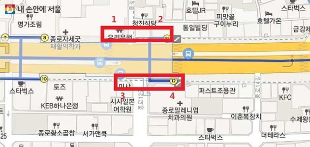 ③ 종각역 11, 12번 출구 주변 양방향 승차수요가 많은 지점 승차대 설치