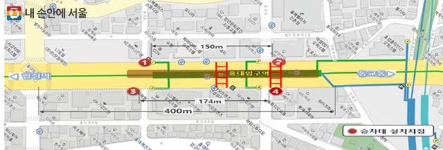 ① 택시 승차수요가 많은 홍대입구역 입구 주변 지점 승차대 설치