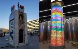 광화문 광장에 세워진 3·1운동 100주년 기념 홍보탑(좌), 3·1운동 테마역사관인 안국역에 세워진 100년 기둥(우)