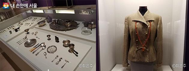 딜쿠샤에서 테일러 부부가 사용했던 식기(좌), 메리가 남편한테 결혼선물로 받은 호박목걸이(우)