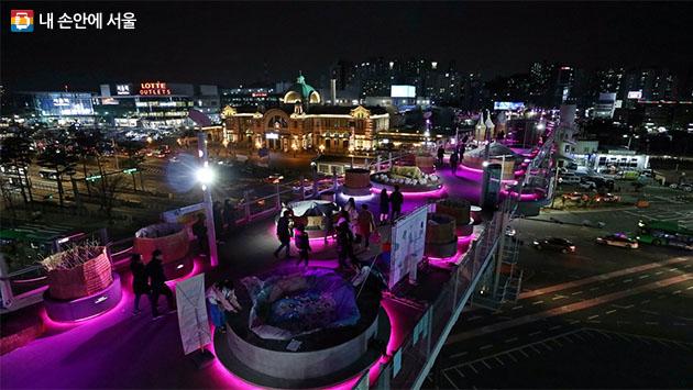 서울역과 서울역 앞 전경, 서울로의 야경
