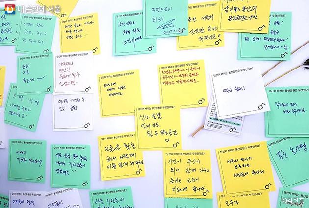 녹사평역 지하예술정원에 대한 시민들의 소망을 담은 메모들