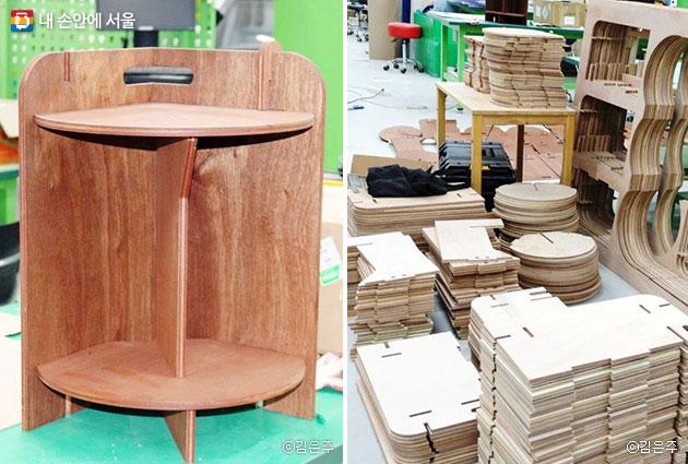 참가단체 '탠버린'에서 만든 스툴(좌)과 스툴을 만들고 난 짜투리 나무를 활용해 테이블과 의자 재료를 만들고 있다(우)
