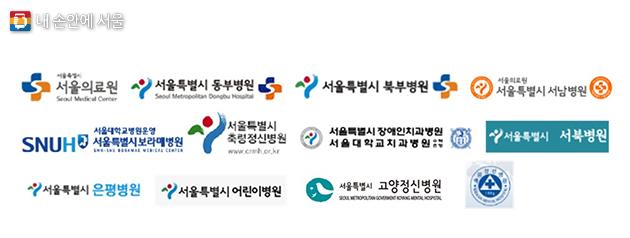 통일감이 부족했던 서울시립병원 명칭과 로고