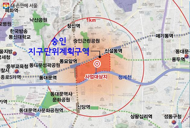 종로구 숭인동 역세권 청년주택 위치도
