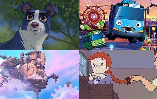 제23회 SICAF 2019 영화제에서 상영될 애니메이션, 위 왼쪽부터 시계방향으로 언더독, 꼬마버스 타요, 빨간머리 앤, 똑딱똑딱 마법의 시계나라