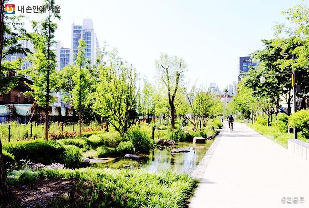 경의선 책거리 주변에 있는 경의선 숲길 공원, 여러 종류의 책방 투어도 함께 하기 좋다