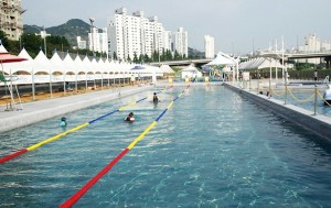 중랑천 물놀이장에 서울시 야외수영장으로는 최초로 국제규격을 갖춘 50m 성인용 풀장이 개장했다