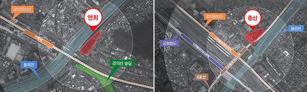 (왼쪽부터) 연희, 증산 혁신거점 사업대상지 위치도(☞ 이미지 클릭 크게보기)