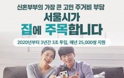 # 신혼부부의 가장 큰 고민 주거비 부담 서울시가 집에 주목합니다 2020년부터 3년간 3조 투입, 매년 25,000쌍 지원