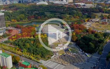 하늘에서 본 올림픽공원의 아름다운 가을풍경