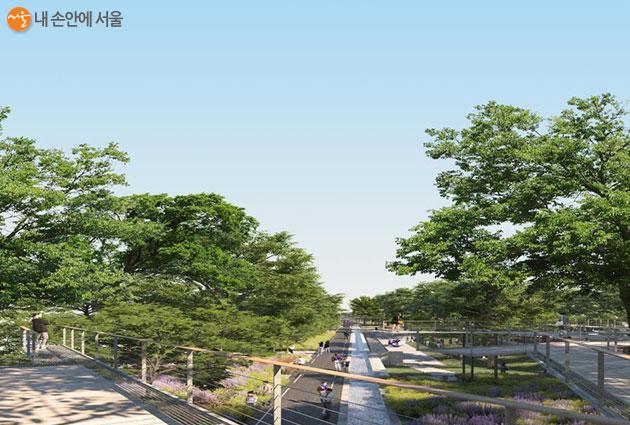 전체 구간의 50%를 차지하는 도시공원 '천년의 숲'