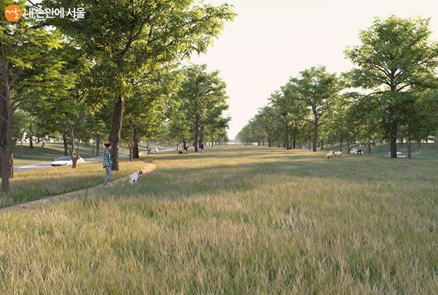 공원 내에서 가장 넓은 친환경 녹지공간인 '그레이트 필드'