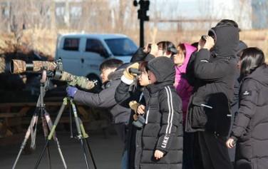 망원경으로 새를 관찰하는 참가자
