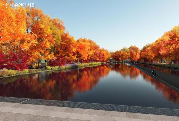 공원의 중심부에 위치하게 될 '물의 정원', 겨울에는 스케이트장으로 활용할 계획이다
