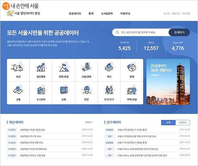 서울 열린데이터광장 홈페이지(http://data.seoul.go.kr)