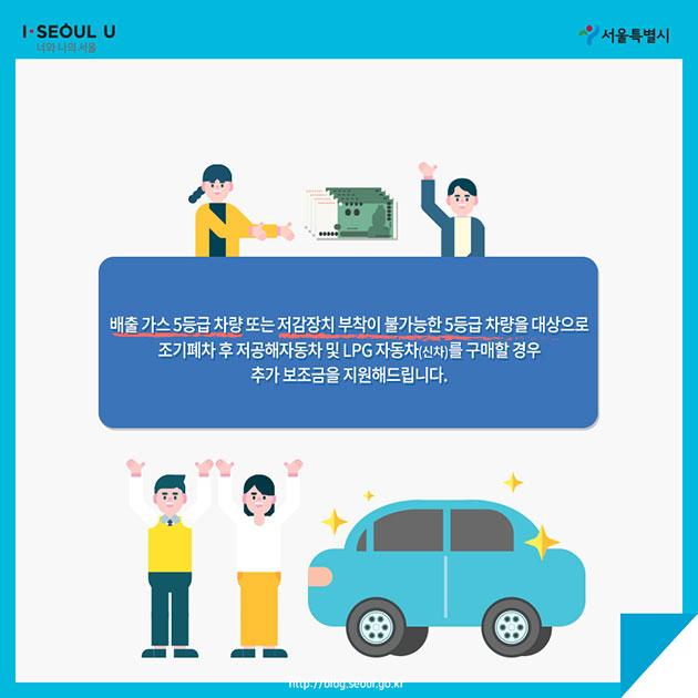 배출 가스 5등급 차량 또는 저감장치 부착이 불가능한 5등급 차량을 대상으로 조기폐차 후 저공해자동차 및 LPG자동차(신차)를 구매할 경우 추가 보조금을 지원해드립니다.