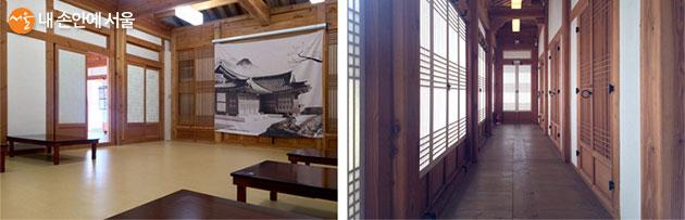 입구 오른편 세미나실(左)과 왼편 창작소1실로 가는 짧은 복도(右)