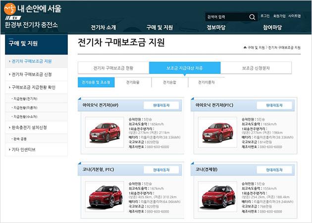 환경부 전기차 충전소 홈페이지, 보조금 지급대상 차종·보조금 등을 확인할 수 있다