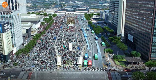 집회·시위 시 비상대중교통로로 활용되는 편도방향 차로