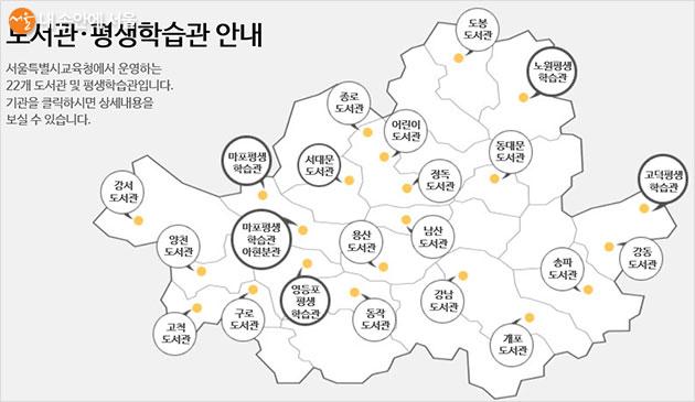 서울시교육청에서 운영하는 도서관과 평생학습관의 위치
