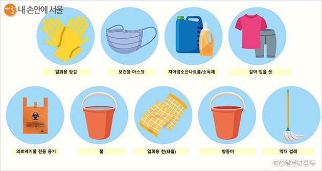청소 및 소독 준비 물품