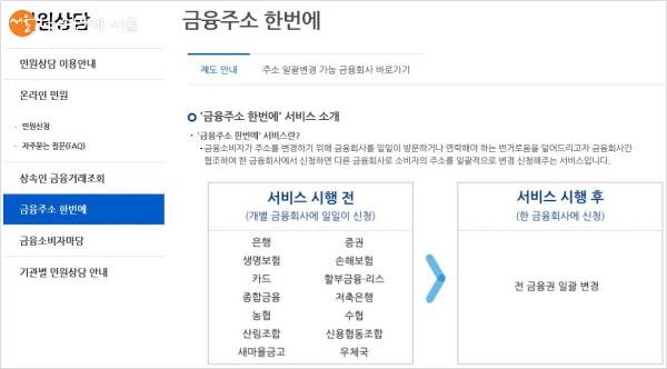 한국신용정보원 홈페이지를 이용하면 금융주소 한 번에 일괄변경이 가능하다