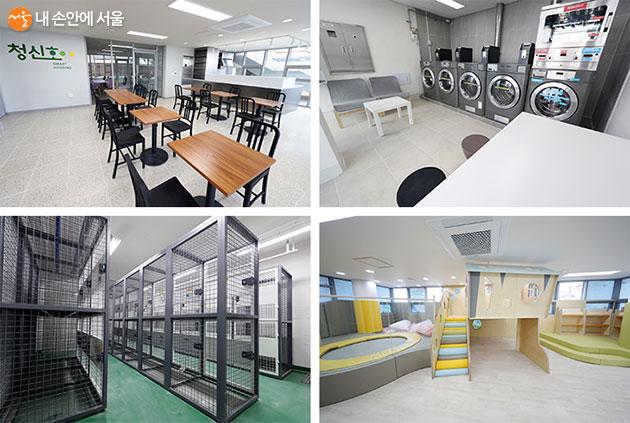 단지 안에 위치한 공동 편의 시설 - 주민카페, 코인세탁실, 계절창고, 공동육아방