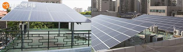 주택형(좌) 및 건물형(우) 태양광 미니발전소 설치 사례