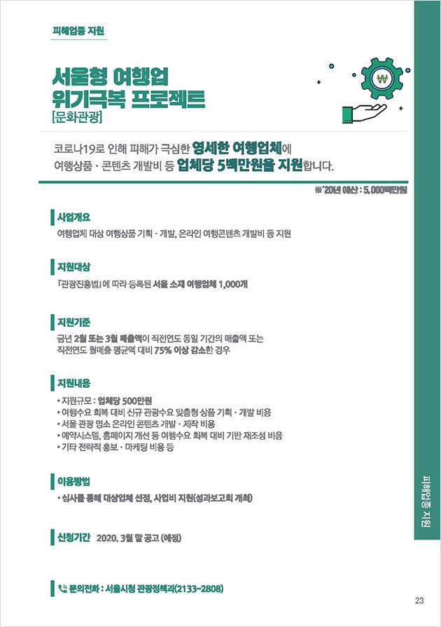 코로나19 민생·경제 대책 중 '서울형 여행업 위기극복 프로젝트'