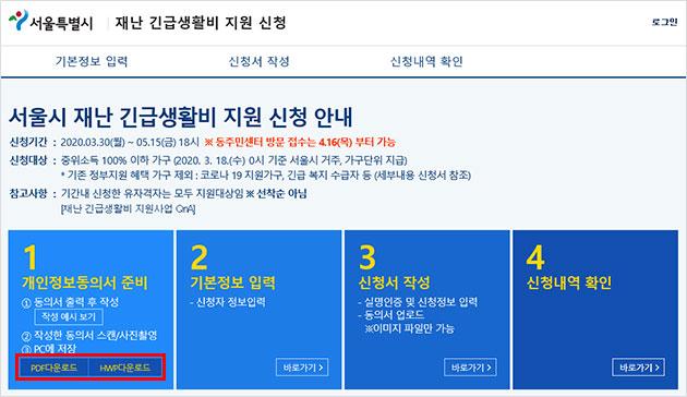 가구원의 개인정보제공동의서를 미리 작성하면 빠른 접수가 가능하다. 개인정보제공동의서는 서울시 복지포털에서 다운로드 가능하다.