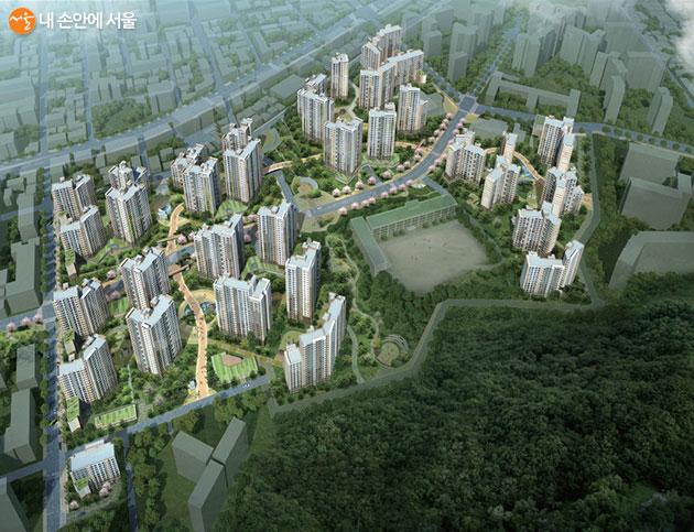 서울 12개 지역에서 서울리츠 행복주택 1,031세대와 장기전세 21세대가 공급된다. 사진은 행복주택 목동센트럴 아이파크위브(조감도)