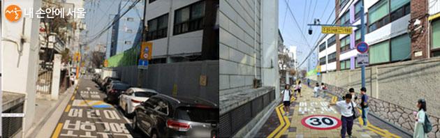 성북구 대광초등학교 노상주차장 정비 개선 전 모습(좌)과 개선 후 조감도(우)