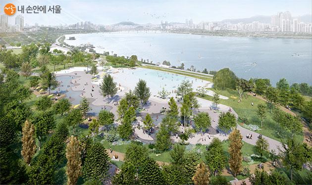 '잠실한강공원 자연형 물놀이장 조성 설계공모' 당선작 'Wonderful Land-환상의 대지 그리고 경이로운 공간' 조감도
