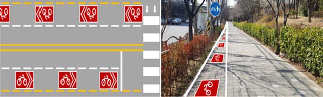시인성이 강화된 자전거도로 설치 예시