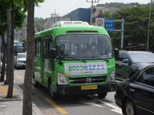 평창동에 새롭게 등장한 중소형 전기 시내버스 8003번.