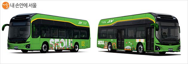 녹색순환버스 변경 디자인(안) ① 녹색 바탕에 하얀색 서울 디자인 적용