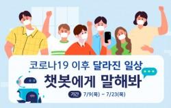 7월 9일∼23일 서울시는 챗봇을 활용하여 코로나19로 달라진 일상을 설문조사한다