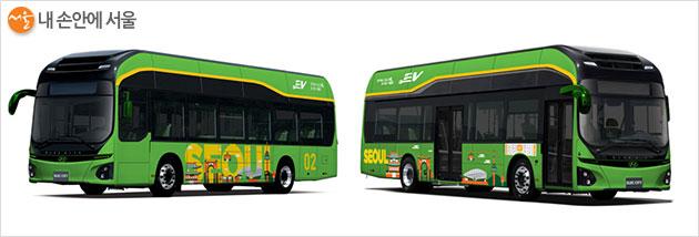 녹색순환버스 변경 디자인(안) ② 녹색 바탕에 노란색 서울 디자인 적용