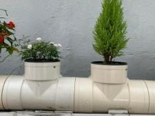 호박골 에너지 자립마을에 설치된 빗물저금통·파이프 팜