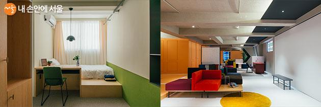 창업가에게 지원되는 셰어하우스 중 이태원동(이태원 512) 커먼타운의 방(좌), 공용거실(우)