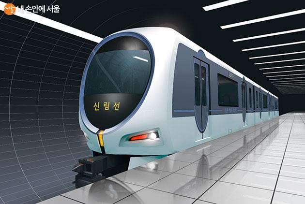 서울시 신림선 경전철 차량 디자인 모습