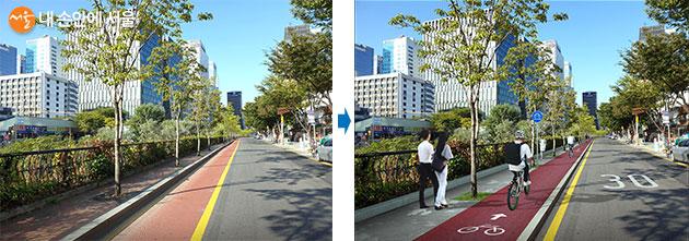 북측 청계5가~고산자교 구간 자전거 전용차로 (좌) 개선 전, (우) 개선 후
